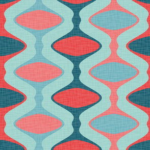 60s Ogee Stripe - Teal, Red, Aqua