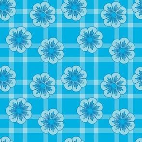 bluefloweronplaid