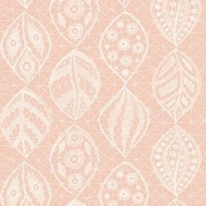 Lace Leaves - H White, Rustic Blush
