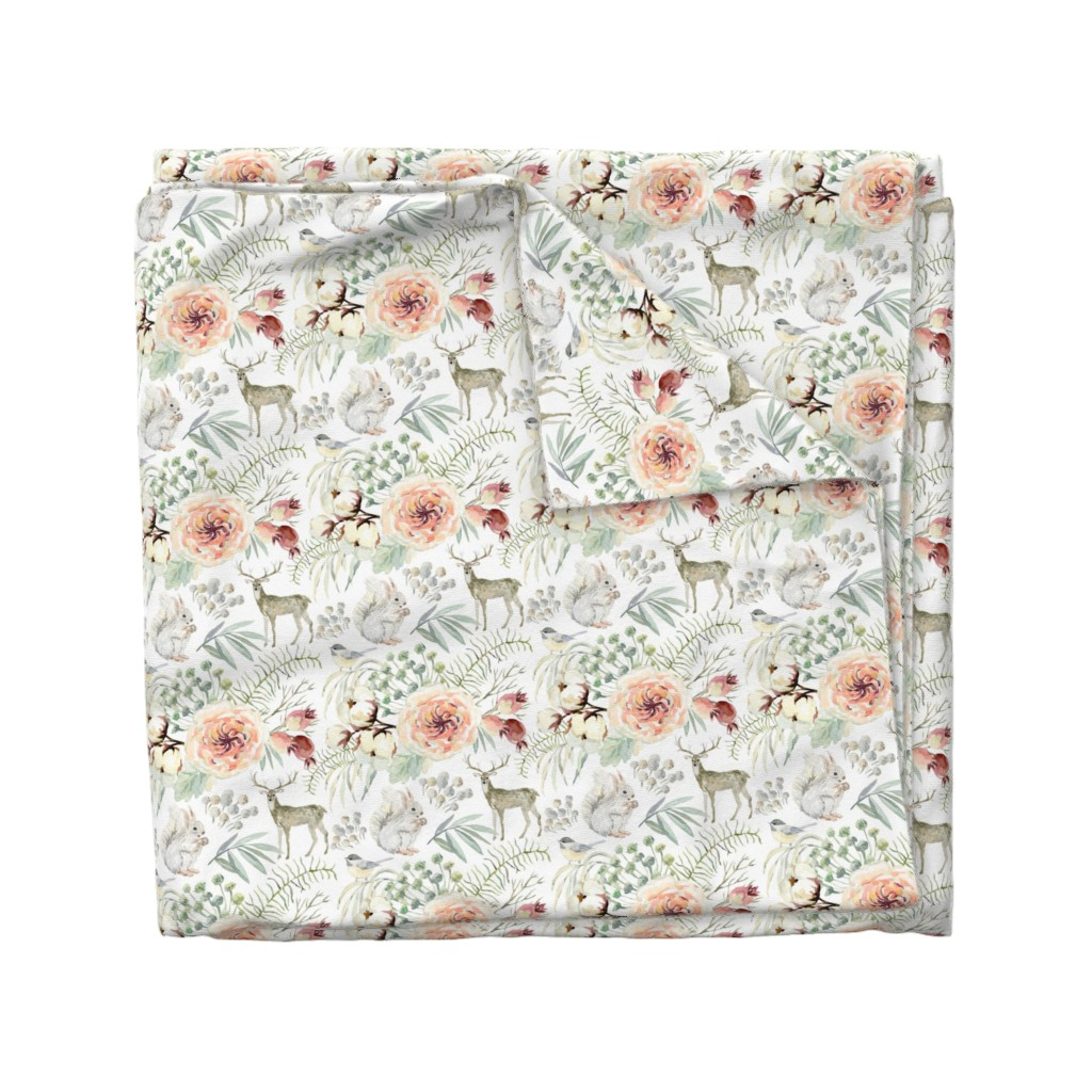 """Wyandotte Duvet Cover featuring 8"""" Pearl Winter Woodland // White by hipkiddesigns"""