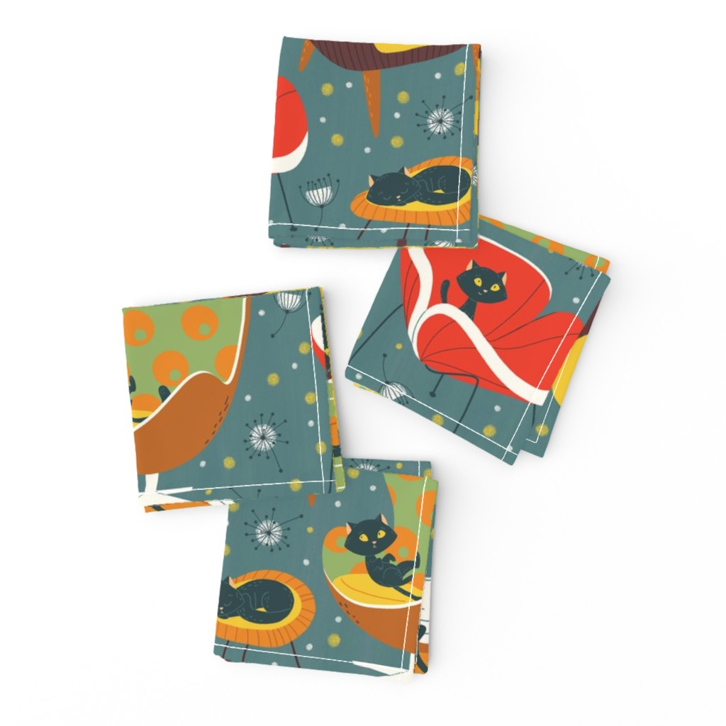 Frizzle Cocktail Napkins featuring '60s cats and chairs by gnoppoletta