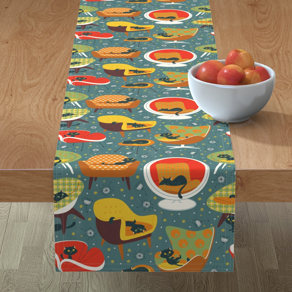 Minorca Table Runner featuring '60s cats and chairs by gnoppoletta