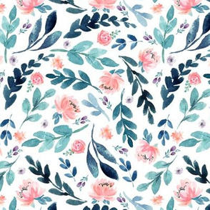 Blush Peach Watercolor Peonies & Teal/Blue Leaves