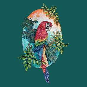 Macaw on Green Large Print by ArtfulFreddy