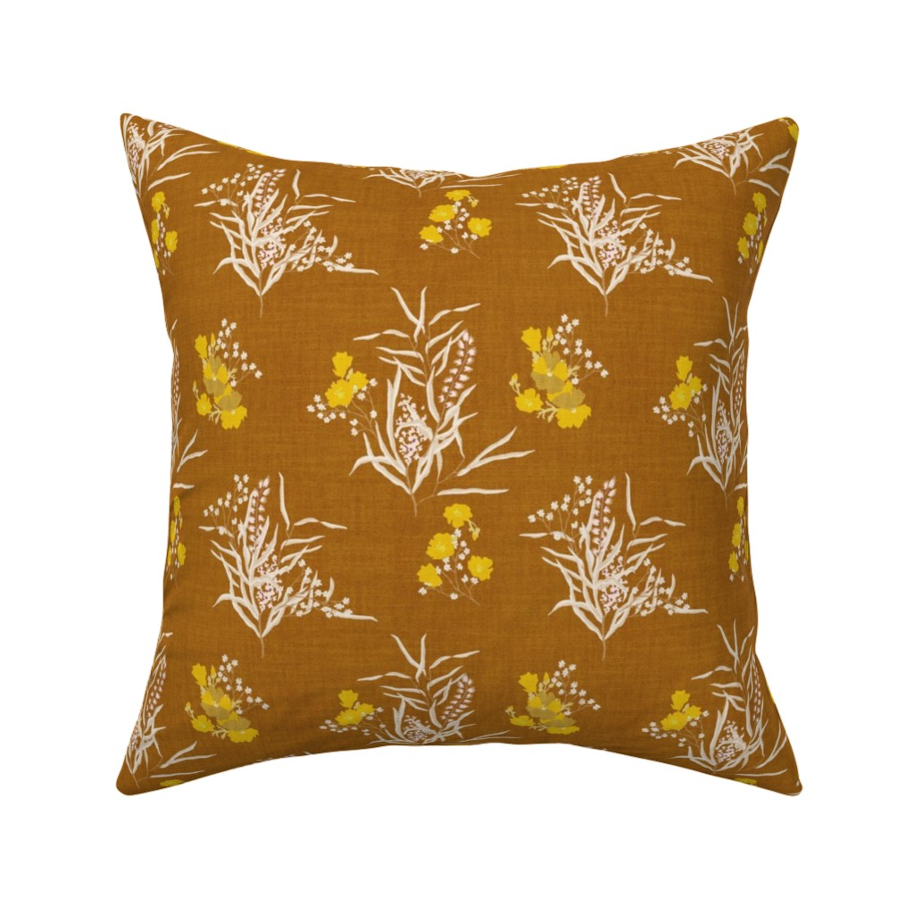 Catalan Throw Pillow featuring KALAMI BOUQUET MUSTARD by holli_zollinger