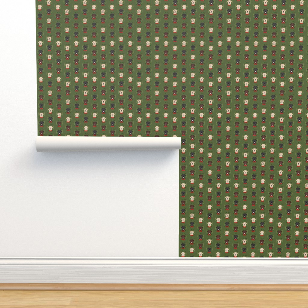 Isobar Durable Wallpaper featuring christmas wreath labradors - xmas, holiday, christmas, red and green holly wreath, dog breed - green by petfriendly