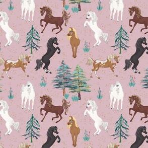 Arabian Horses in Pink