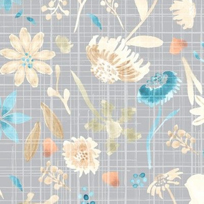 18-10C Fall Watercolor Floral on Gray Distress Texture _ Miss Chiff Designs