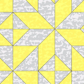 "Geometric Cheater Quilt Whole Cloth 10"" Le Moyne Star Lemon Yellow Gray Grey  Texture  _ Miss Chiff Designs"