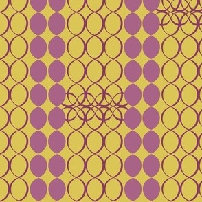 "1960s Challenge ""Chain, Chain, Chain"" - Puce & Citrine, large"