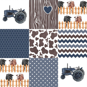 Farm//Love you till the cows come home//Hereford&Angus/Blues - Wholecloth Cheater Quilt