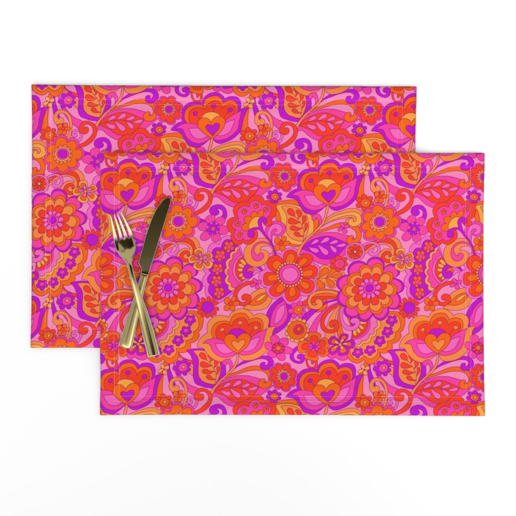 Lamona Cloth Placemats featuring Flower Power by cressida_carr