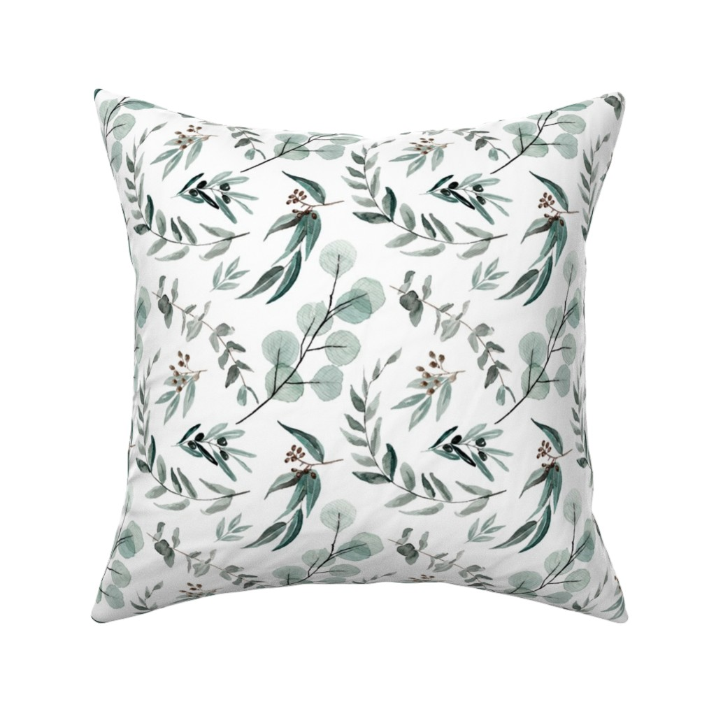 Catalan Throw Pillow featuring Edition 1 DARKER Eucalyptus Leaves Nature Prints Greenery Outdoors by erin__kendal