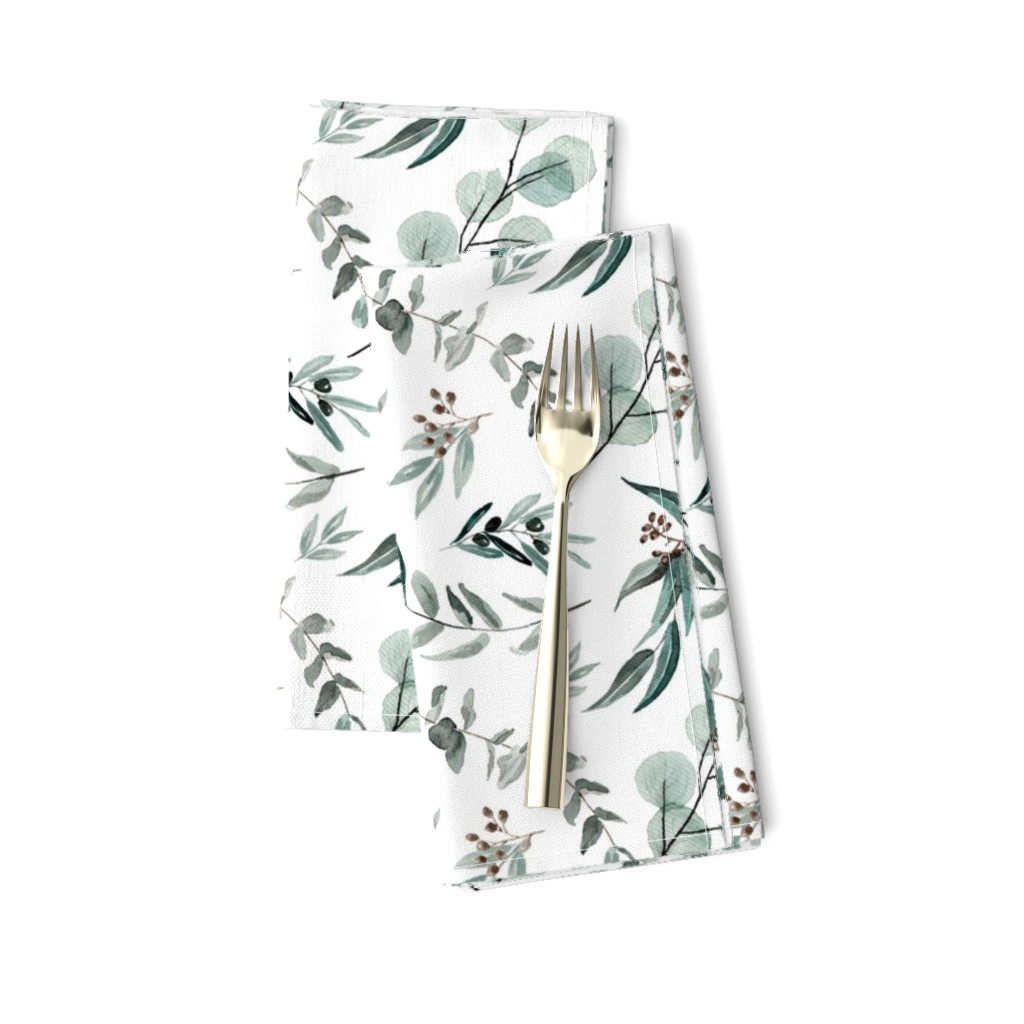 Amarela Dinner Napkins featuring Edition 1 DARKER Eucalyptus Leaves Nature Prints Greenery Outdoors by erin__kendal