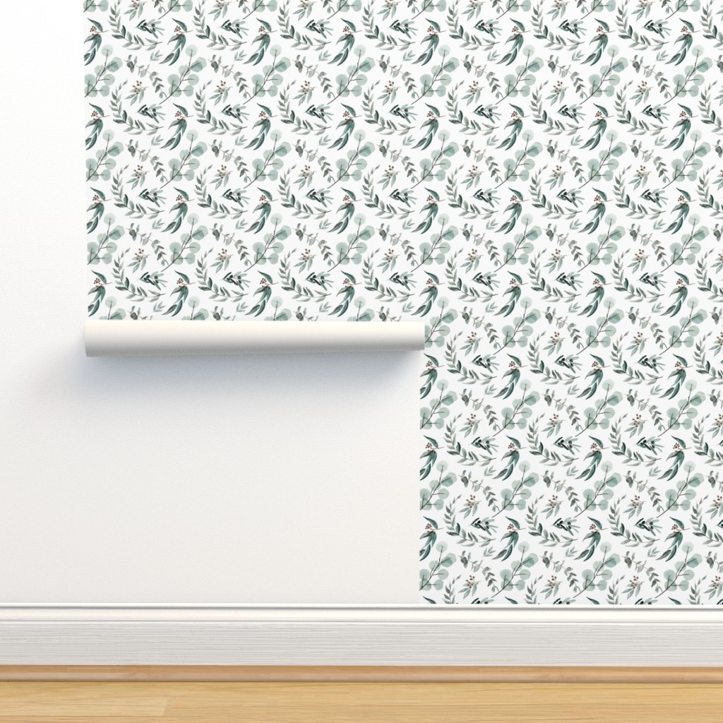 Isobar Durable Wallpaper featuring Edition 1 DARKER Eucalyptus Leaves Nature Prints Greenery Outdoors by erin__kendal
