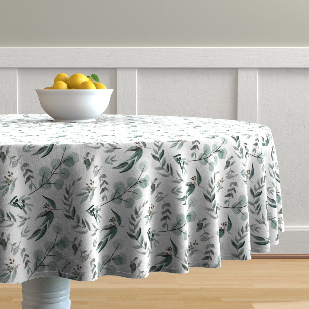 Malay Round Tablecloth featuring Edition 1 DARKER Eucalyptus Leaves Nature Prints Greenery Outdoors by erin__kendal