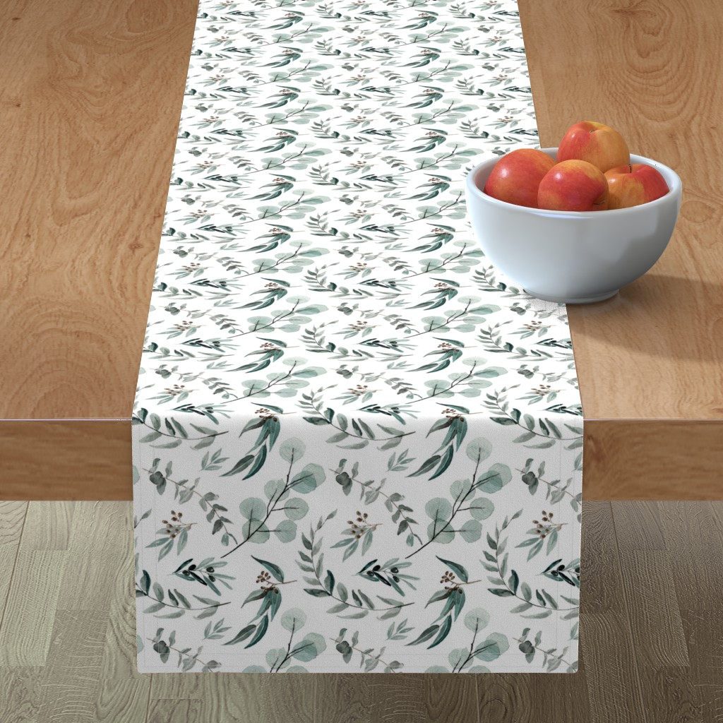 Minorca Table Runner featuring Edition 1 DARKER Eucalyptus Leaves Nature Prints Greenery Outdoors by erin__kendal