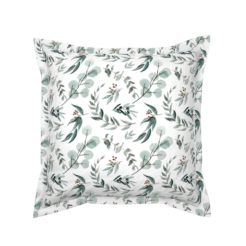 Serama Throw Pillow featuring Edition 1 DARKER Eucalyptus Leaves Nature Prints Greenery Outdoors by erin__kendal