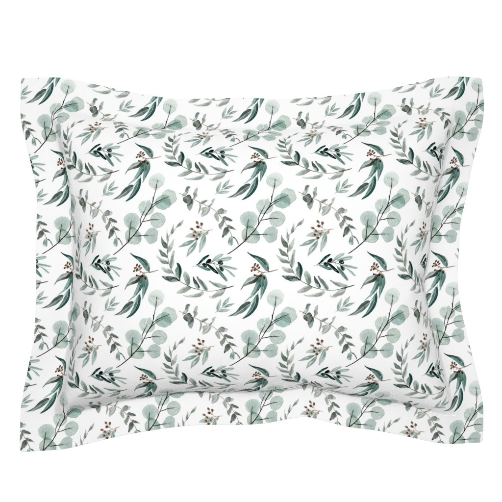 Sebright Pillow Sham featuring Edition 1 DARKER Eucalyptus Leaves Nature Prints Greenery Outdoors by erin__kendal