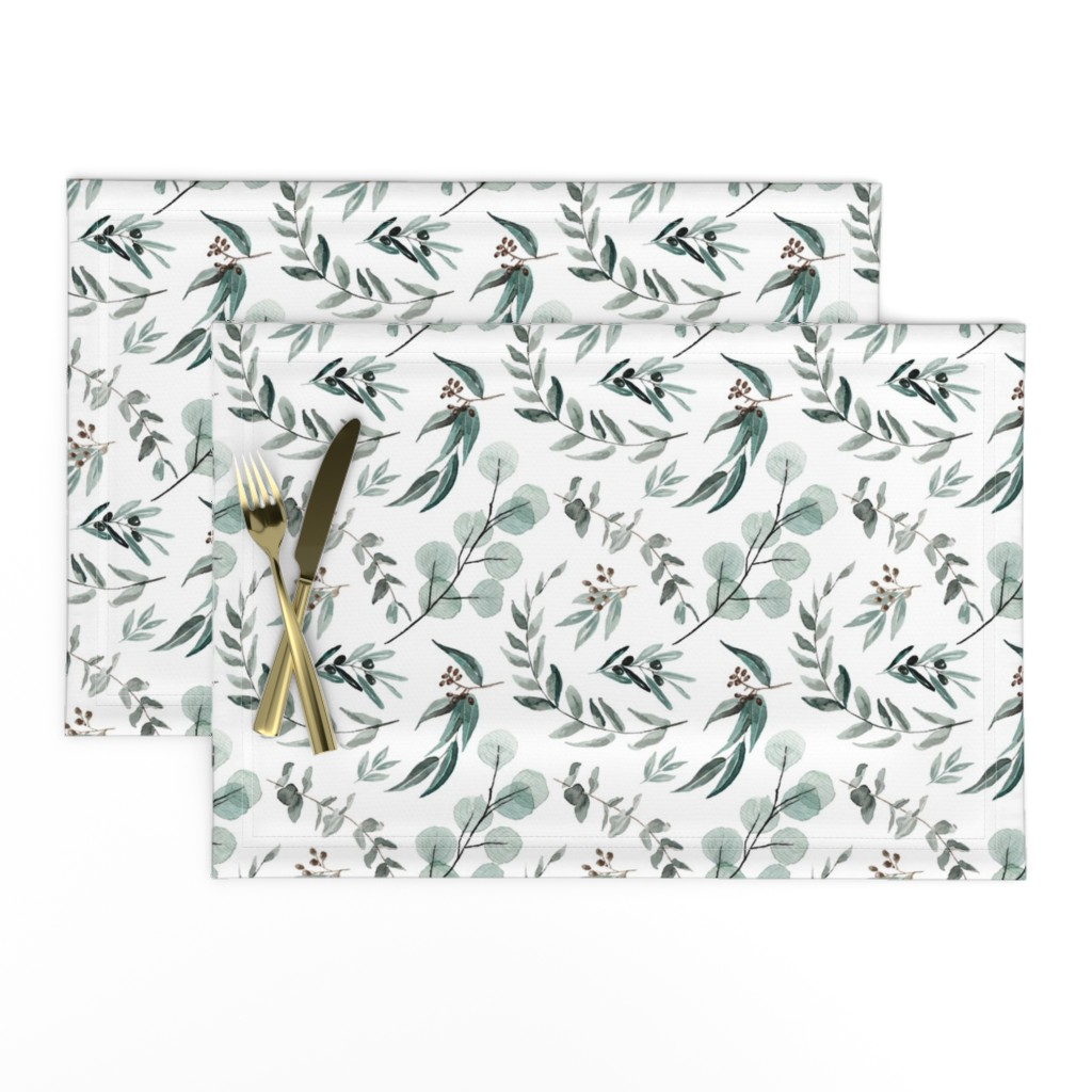 Lamona Cloth Placemats featuring Edition 1 DARKER Eucalyptus Leaves Nature Prints Greenery Outdoors by erin__kendal