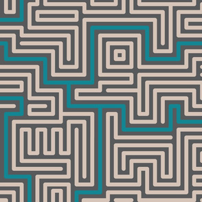 Meandering rounded lines teal, cream