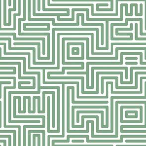Maze lines jade green Fabric