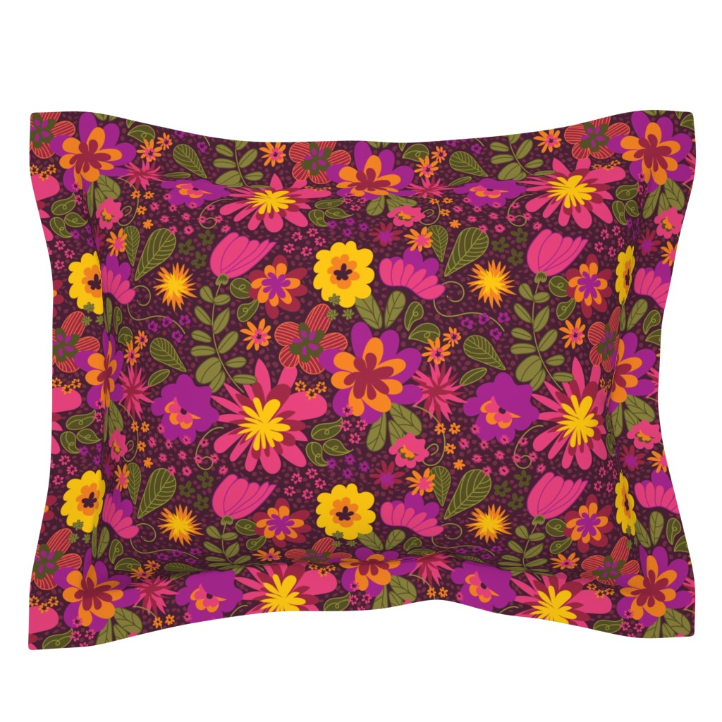 Sebright Pillow Sham featuring Floral Mod by jenflorentine