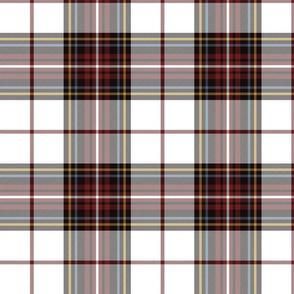 "King George VI tartan, 8"" white ground, red stripe, weathered"