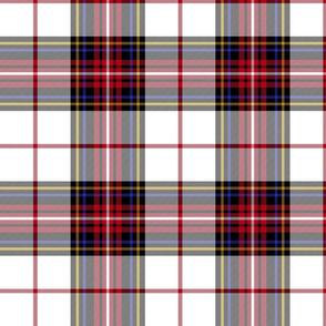"King George VI tartan, 8"" white ground, red stripe, modern"