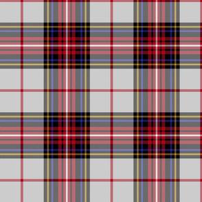 "King George VI tartan, 8"" light grey ground, red stripe, weathered"