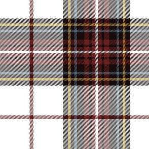 "King George VI tartan, 7"" white ground, red stripe, weathered"