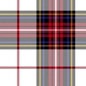 "King George VI tartan, 7"" white ground, red stripe, modern"