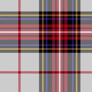 "King George VI tartan, 7"" light grey ground, red stripe, modern"