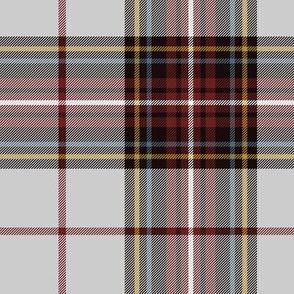 "King George VI tartan, 7"" light grey ground, red stripe, weathered"