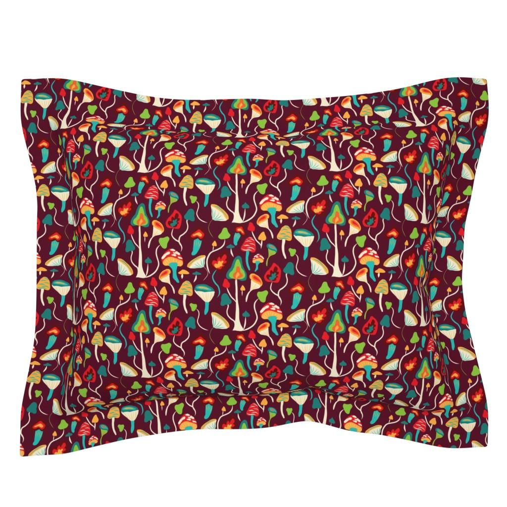 Sebright Pillow Sham featuring psyhodelic mashroom forest-on dark burgundy by stargazingseamstress