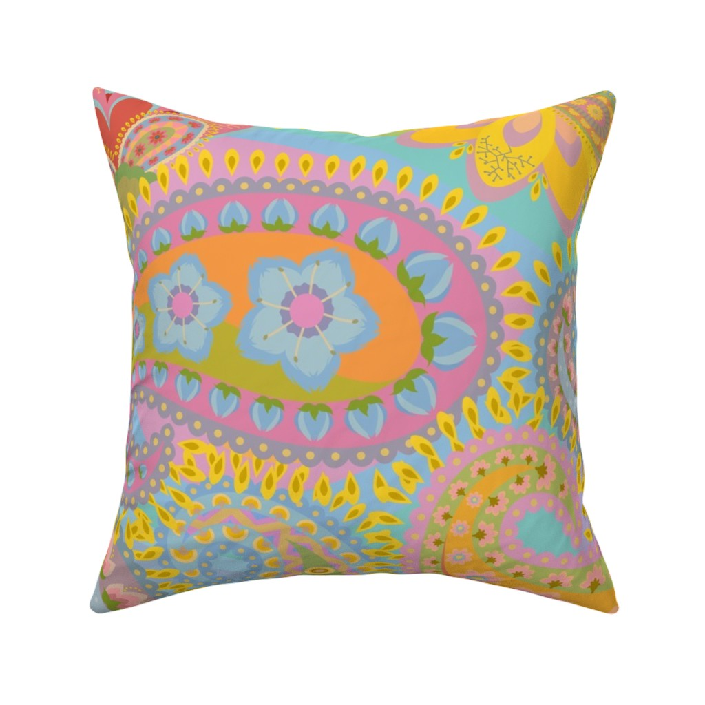 Catalan Throw Pillow featuring The 1960s Revisited by elizabeth_chia