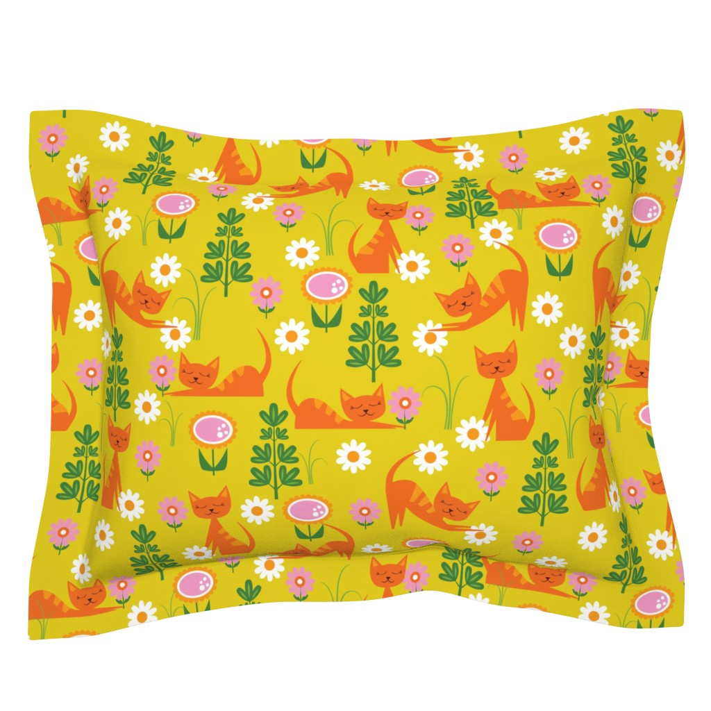 Sebright Pillow Sham featuring Woodsy Cats on Gold by oliveandruby