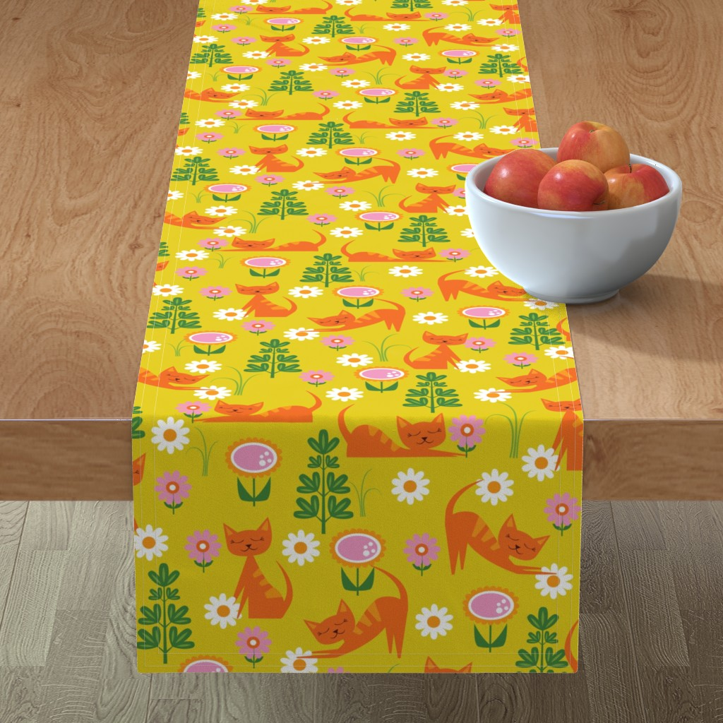 Minorca Table Runner featuring Woodsy Cats on Gold by oliveandruby