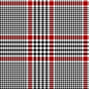 """Prince of Wales check #1, 5"""" repeat, black/white/red"""