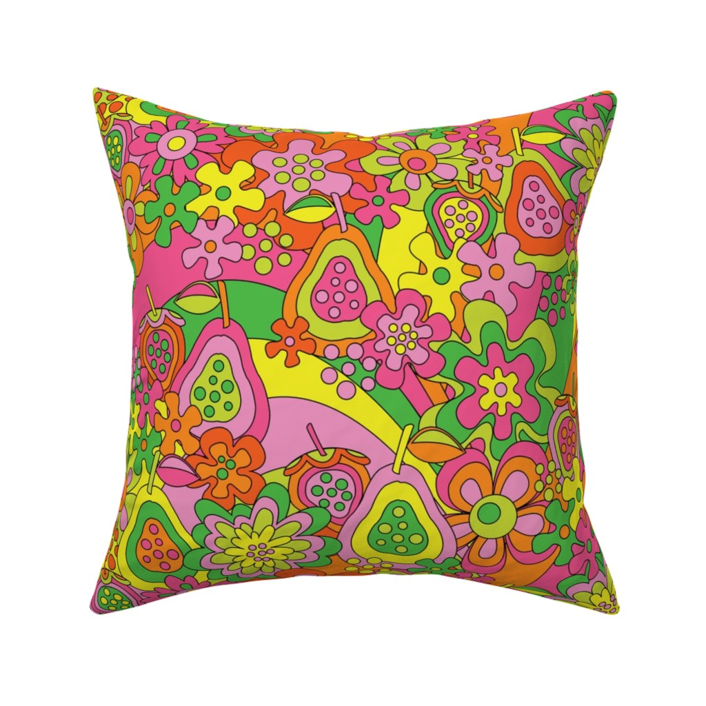Catalan Throw Pillow featuring Strawpeary Fields Forever by nanshizzle