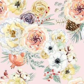 "8"" Vintage Christmas Florals // Blush"