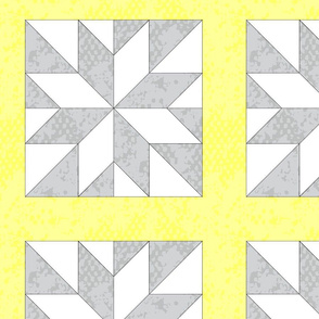 Whole Cloth Star Cheater Quilt Yellow Gray Grey