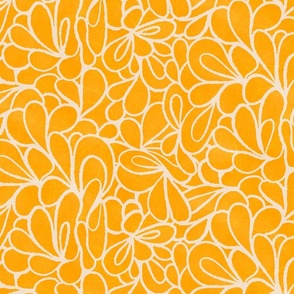 Retro psychedelic flowers in yellow
