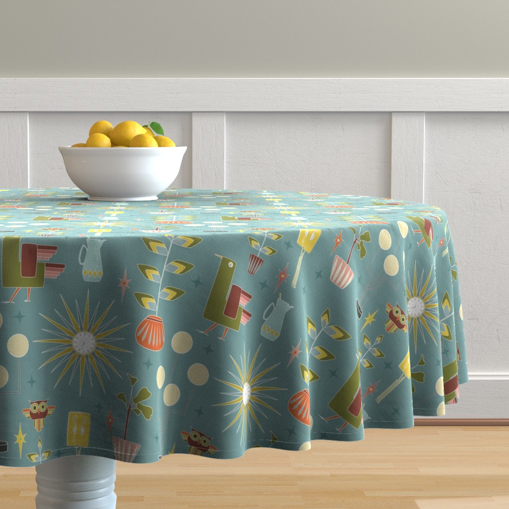Malay Round Tablecloth featuring 1960s, Mid Mod: 60s Mix by squinksart