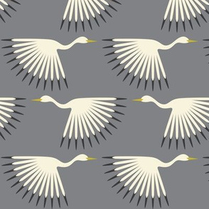 Art Deco Cranes - Smoke Smaller