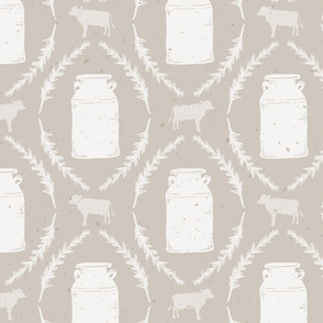 LARGE SCALE Modern Farmhouse Light Brown Cow and Farm Fresh Milk Jug Stripe  // Sing for Your Supper // Modern Farmhouse Collection