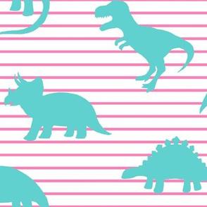 Dino Pink Stripe Teal
