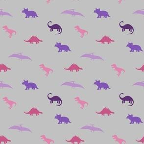 pink purple  dinos on gray