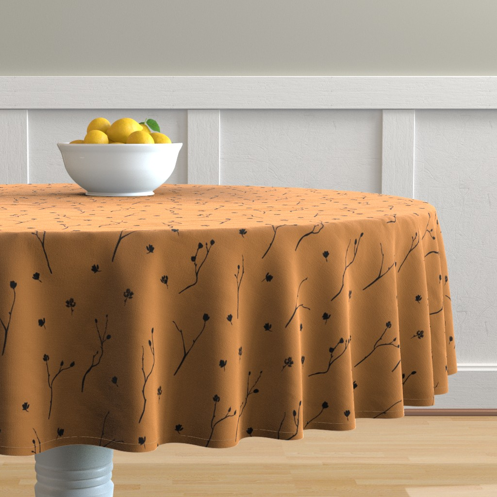 Malay Round Tablecloth featuring Little Branches, Black on Deep Gold by karina_love