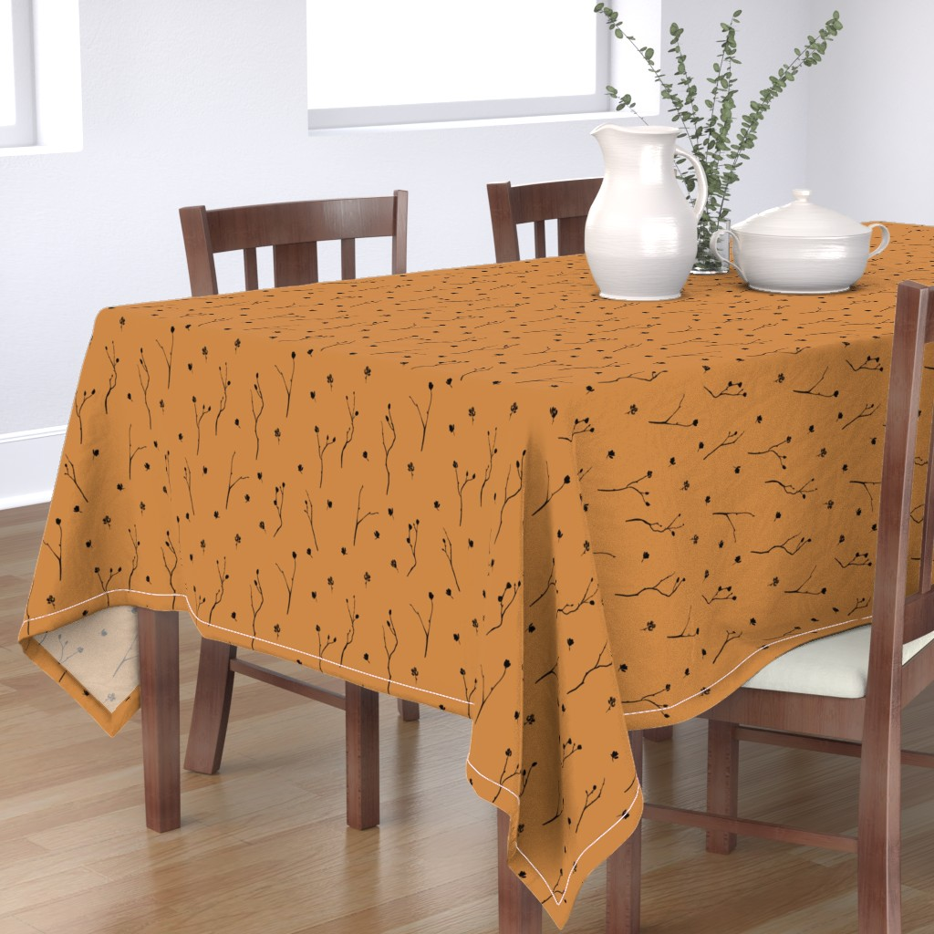 Bantam Rectangular Tablecloth featuring Little Branches, Black on Deep Gold by karina_love